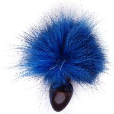 Wild Lust Анальная пробка 3 см, черно-голубая С заячьим хвостом