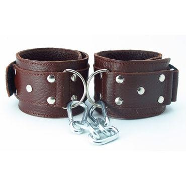 BDSM Арсенал кожаные наручники, коричневые На регулируемых ремешках o вибромассажеры joy division