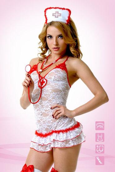 Le Frivole Костюм Медсестры Кружевной Платье, головной убор, стетоскоп, чулки стетоскоп le frivole красный