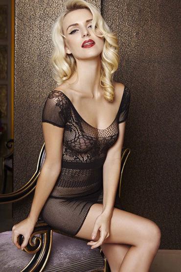 Le Frivole Платье с короткими рукавами Мелкая сетка эротическая одежда и обувь материал эластан