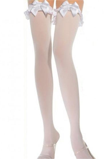 Le Frivole чулки с бантами, белые С декорированной резинко анальная пробка frisky bad kitty silicone cat tail anal plug