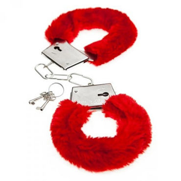 Baile Love Hand Cuffs, красные Наручники с мехом пикантные штучки большая анальная пробка золотая с фиолетовым кристаллом