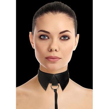 Ouch! Classic Collar with Leash, черный Ошейник-воротник с поводком ouch kinbaku rope 5м розовая нейлоновая веревка