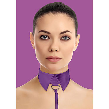 Ouch! Classic Collar with Leash, фиолетовый Ошейник-воротник с поводком l ouch extreme mesh balaclavea with open ball gaga