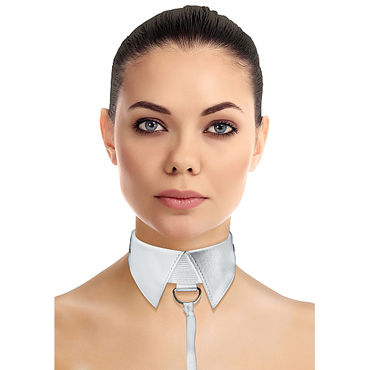 Ouch! Classic Collar with Leash, белый Ошейник-воротник с поводком e ouch extreme mesh balaclavea with open ball gaga