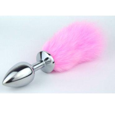 Luxurious Tail Анальная пробка с хвостиком, розовый Металлическая белая сорочка и стринги angela s m