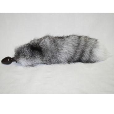 Wild Lust Анальная пробка лисьим хвостом серым, 60 мм Деревянная