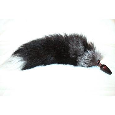 Wild Lust Анальная пробка лисьим хвостом черным, 60 мм Деревянная