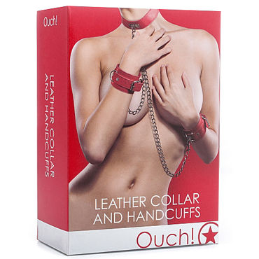 Ouch! Leather Collar and Handcuffs, красный - фото, отзывы