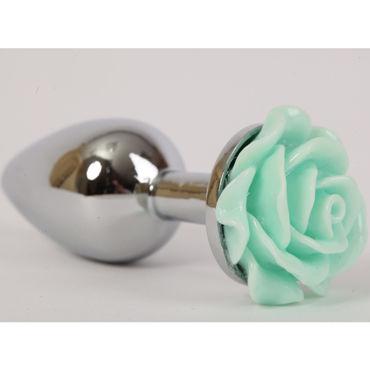Luxurious Tail Анальная пробка, серебристая Малая, с зеленой розой