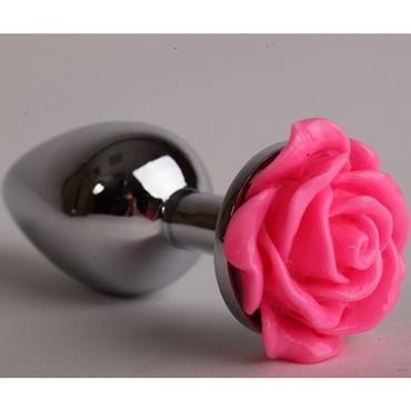 Luxurious Tail Анальная пробка, серебристая Средняя, с розовой розой sitabella плеть красный с жесткой рукояткой 40 см
