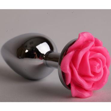 Luxurious Tail Анальная пробка, серебристая Большая, с розовой розой