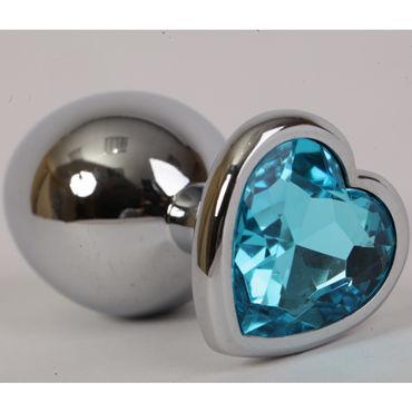 Luxurious Tail Анальная пробка, серебристая Средняя, с голубым сердечком пикантные штучки большая анальная пробка золотая с фиолетовым кристаллом