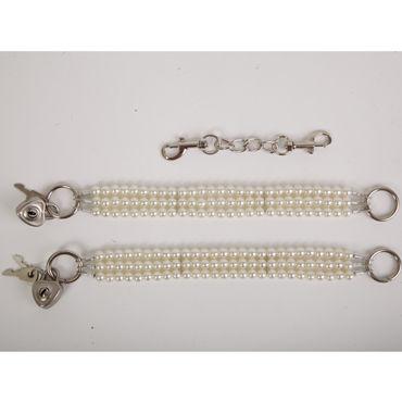 White Label Наножники, белые Жемчужные из трех нитей white label наручники сиреневые жемчужные из трех нитей