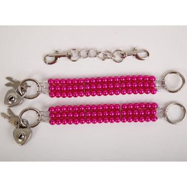 White Label Наручники, красные Жемчужные из трех нитей white label наручники сиреневые жемчужные из трех нитей