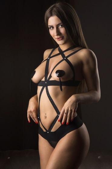 Mens dreams Эротический костюм, черный Боди из перекрещивающихся лент shunga toko aroma 165 vk 3