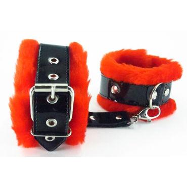 BDSM Арсенал Наножники с красным мехом Лаковая кожа наножники scandal love sling с длинным ремешком черные с красным