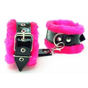 BDSM Арсенал Наножники с розовым мехом Лаковая кожа bdsm арсенал ошейник с синим мехом лаковая кожа