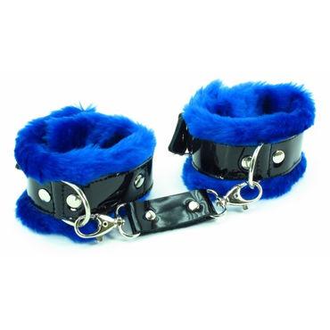 BDSM Арсенал Наручники с синим мехом Лаковая кожа с ивыь арсенал плеть с синим мехом