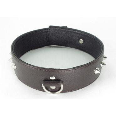 BDSM Арсенал Ошейник с шипами, коричневый С кольцом bdsm арсенал ошейник с кольцом для поводка красно черный декорирован шипами