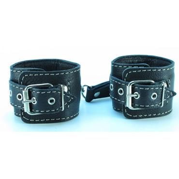 BDSM Арсенал Оковы с контрастной строчкой, черные С заклепками интимная игрушка a