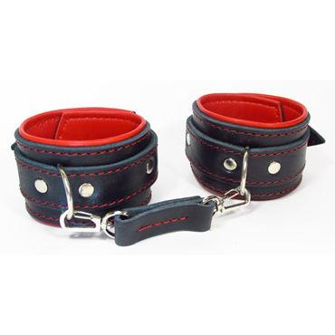 BDSM Арсенал Оковы с контрастными накладками, черно-красные С карабинами bdsm арсенал кожаные оковы с пряжкой красные на регулируемых ремешках