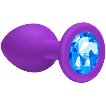 Lola Toys Emotions Cutie Medium, фиолетовая Анальная пробка с голубым кристаллом wicked aqua sensitive 120 мл мягкий лубрикант на водной основе