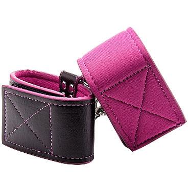 Ouch! Reversible Wrist Cuffs, черно-розовые Наручники на липучках ouch reversible collar and wrist cuffs черно красный ошейник с наручниками