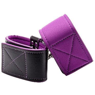 Ouch! Reversible Wrist Cuffs, черно-фиолетовые Наручники на липучках ты novelties наручники sinful wrist cuffs р