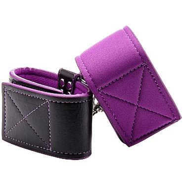 Ouch! Reversible Ankle Cuffs, черно-фиолетовые Наножники на липучках ouch reversible wrist cuffs черно фиолетовые наручники на липучках