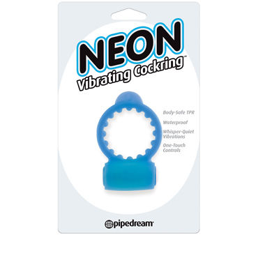 Pipedream Neon Vibrating Cockring, синее - фото, отзывы