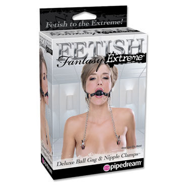 Pipedream Deluxe Ball Gag and Nipple Clamps, Кляпы и зажимы на соски