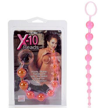 California Exotic X-10 Beads, розовая Гибкая анальная цепочка