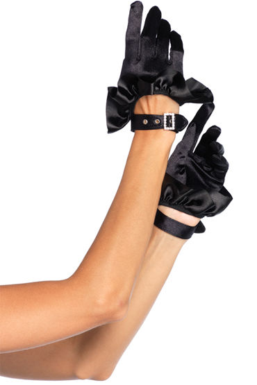 Leg Avenue Cropped Satin Ruffle Перчатки с пряжкой