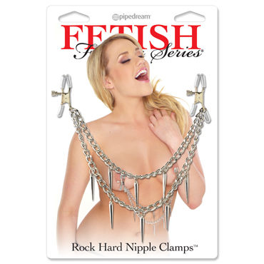 Pipedream Rock Hard Nipple Clamps Зажимы для сосков с цепочкой sex mischief feathered nipple clamps