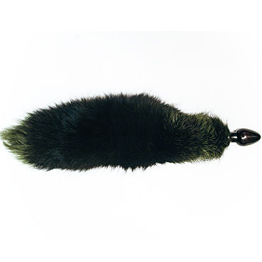 Wild Lust анальная пробка, 32 мм Черная, с зеленым лисьим хвостом wild lust анальная пробка 32 мм с изображением чеширского кота