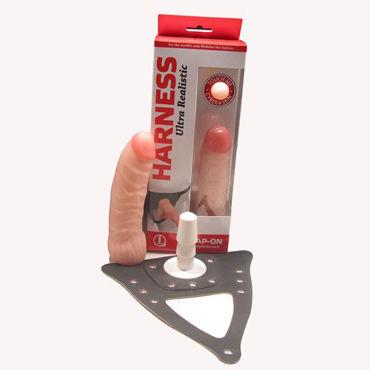 Bioclon Насадка для страпона, телесная С поясом Harness, в картонной упаковке bioclon вибратор реалистичной формы 21см с многоскоростной вибрацией в картонной упаковке