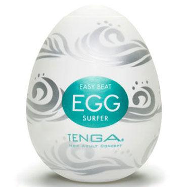Tenga Egg Surfer Одноразовый мастурбатор с рельефом в виде волн tenga egg crater одноразовый мастурбатор с рельефом в виде кратеров