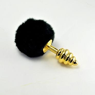 LoveToy Tail Spiral, черный Золотая втулка с черным хвостиком lovetoy large черный