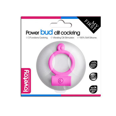 LoveToy Power Bud Clit Cockring, розовое Виброкольцо для пениса