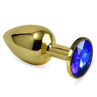 LoveToy Small Анальная втулка, золотая С синим кристаллом