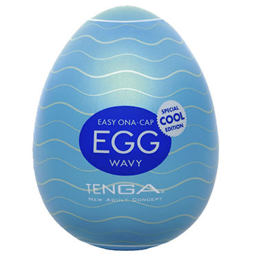 Tenga Egg Wavy Cool Edition Одноразовый мастурбатор в форме яйца, с охлаждающим лубрикантом
