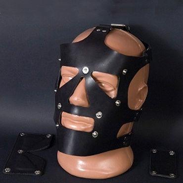 Beastly маска, черная С отстегивающимися элементами bdsm арсенал ошейник широкий с продольным кольцом черный декорирован шипами