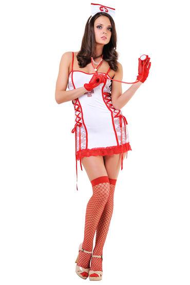 Le Frivole Медсестра Платье, чепчик, чулки и стетоскоп у ду frivole старшая медсестра