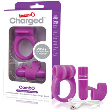Screaming O Charged CombO Kit, фиолетовый Комплект с перезаряжаемой вибропулей