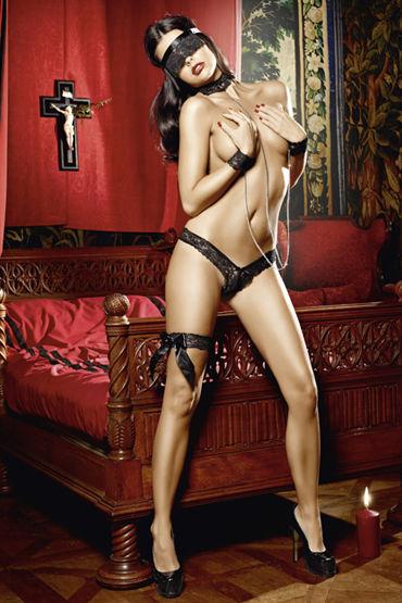 Baci Покорная Саба Трусики, маска, подвязка, манжеты и воротничок ч хиты продаж диаметр до 2 см