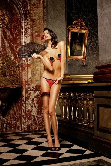Baci трусики, красно-черные С узором в виде сердечек baci трусики черно розовые с узором в виде сердечек