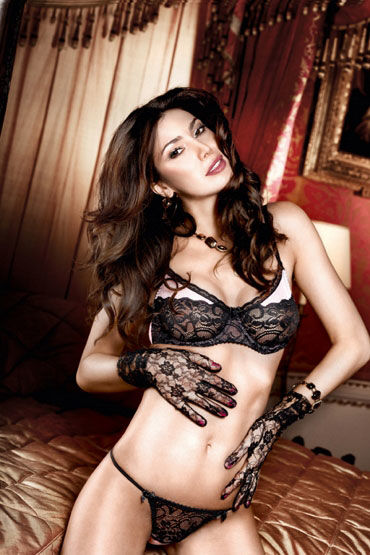 Baci перчатки, черные Кружевные, с цветочным узором промо картонный стенд livco corsetti маленький