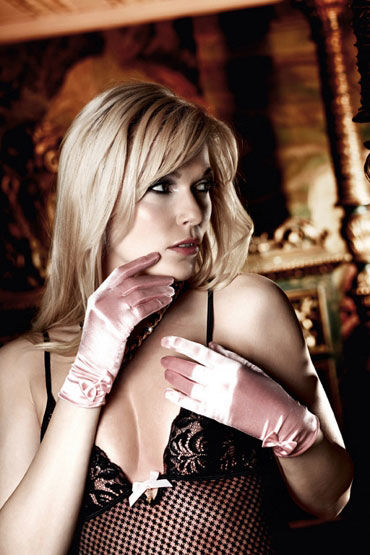Baci перчатки, розовые С бантиками