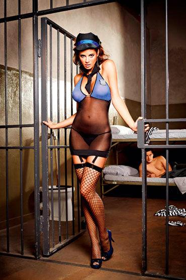 Baci Игривая Надзирательница Мини-платье, трусики, значок, галстук и фуражка с baci ночной полицейский